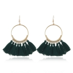 Tassel Earrings for Women Ethnic Big Drop Earrings Bohemia Fashion Jewelry Trendy Cotton Rope Fringe Long Dangle Earrings(Green)