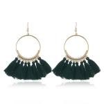 Tassel Earrings for Women Ethnic Big Drop Earrings Bohemia Fashion Jewelry Trendy Cotton Rope Fringe Long Dangle Earrings(Green)