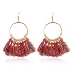 Tassel Earrings for Women Ethnic Big Drop Earrings Bohemia Fashion Jewelry Trendy Cotton Rope Fringe Long Dangle Earrings(Red color)