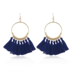 Tassel Earrings for Women Ethnic Big Drop Earrings Bohemia Fashion Jewelry Trendy Cotton Rope Fringe Long Dangle Earrings(Royal blue)