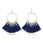 Tassel Earrings for Women Ethnic Big Drop Earrings Bohemia Fashion Jewelry Trendy Cotton Rope Fringe Long Dangle Earrings(Royal blue)
