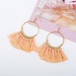 Tassel Earrings for Women Ethnic Big Drop Earrings Bohemia Fashion Jewelry Trendy Cotton Rope Fringe Long Dangle Earrings(Light Pink)