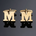 1 pair gold letters A-Z name Cufflinks men French shirt Cufflinks(M)