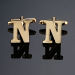 1 pair gold letters A-Z name Cufflinks men French shirt Cufflinks(N)