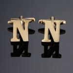1 pair gold letters A-Z name Cufflinks men French shirt Cufflinks(N)