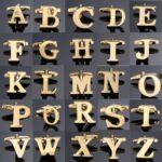 1 pair gold letters A-Z name Cufflinks men French shirt Cufflinks(X)