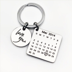 Personalized Calendar Keychain Hand Carved Calendar Keyring Stainless Steel Brelok(Silver)