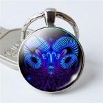Zodiac Sign Keychain 12 Constellation Pendant Single Face Keyring(Aries)