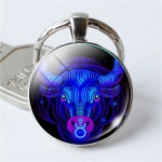 Zodiac Sign Keychain 12 Constellation Pendant Single Face Keyring(Taurus)