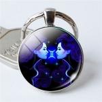 Zodiac Sign Keychain 12 Constellation Pendant Single Face Keyring(Gemini)