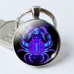 Zodiac Sign Keychain 12 Constellation Pendant Single Face Keyring(Cancer)