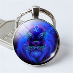 Zodiac Sign Keychain 12 Constellation Pendant Single Face Keyring(Leo)