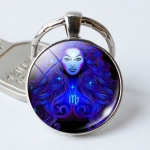 Zodiac Sign Keychain 12 Constellation Pendant Single Face Keyring(Virgo)