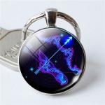 Zodiac Sign Keychain 12 Constellation Pendant Single Face Keyring(Sagittarius)