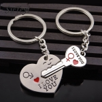 Fashion Heart Key Ring Silver Color Lovers Love Key Chain Valentine Day Gift 1 Pair Couple Keychain