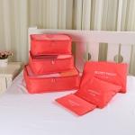 30 Sets Oxford Cloth Travel Mesh Bag Luggage Organizer Cube Clothing Organiser (1 Set=6 PCS)(Red)