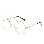 Retro Large Round Eyeglasses Metal Frame Anti Blue-ray Plain Glass Spectacles(Gold)