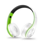 Headphones Bluetooth Headset Earphone Wireless Headphones Stereo Foldable Sport Earphone Microphone Headset Handfree MP3 Player(White Green)