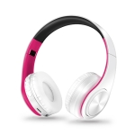 Headphones Bluetooth Headset Earphone Wireless Headphones Stereo Foldable Sport Earphone Microphone Headset Handfree MP3 Player(White Rose)