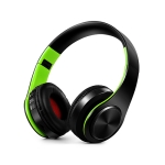 Headphones Bluetooth Headset Earphone Wireless Headphones Stereo Foldable Sport Earphone Microphone Headset Handfree MP3 Player(Black Green)