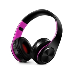 Headphones Bluetooth Headset Earphone Wireless Headphones Stereo Foldable Sport Earphone Microphone Headset Handfree MP3 Player(Black Rose)