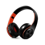 Headphones Bluetooth Headset Earphone Wireless Headphones Stereo Foldable Sport Earphone Microphone Headset Handfree MP3 Player(Black Orange)