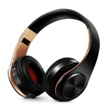 Headphones Bluetooth Headset Earphone Wireless Headphones Stereo Foldable Sport Earphone Microphone Headset Handfree MP3 Player(Gold Black)