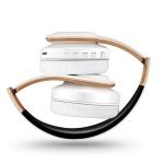 Headphones Bluetooth Headset Earphone Wireless Headphones Stereo Foldable Sport Earphone Microphone Headset Handfree MP3 Player(White Gold)