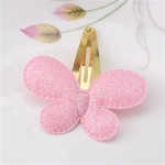 2 PCS Metal Color Children Shiny Hairgrips Baby Hairpins Girls Hair Accessories, Size:4.7cm(Pink  Butterfly)