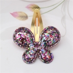 2 PCS Metal Color Children Shiny Hairgrips Baby Hairpins Girls Hair Accessories, Size:4.7cm(Colorful Butterfly)