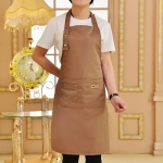Pure Color Cooking Kitchen Apron For Woman Men Chef Waiter Cafe Shop BBQ Hairdresser Aprons(Coffee)