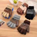 Kids Warm Knitted Gloves Children Winter Thick Full Finger Gloves(Black)