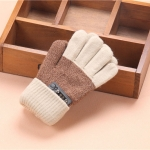 Kids Warm Knitted Gloves Children Winter Thick Full Finger Gloves(Beige)
