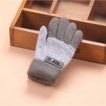 Kids Warm Knitted Gloves Children Winter Thick Full Finger Gloves(Dark Gray)