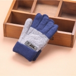 Kids Warm Knitted Gloves Children Winter Thick Full Finger Gloves(Royalblue)