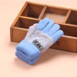 Kids Warm Knitted Gloves Children Winter Thick Full Finger Gloves(Sky blue)