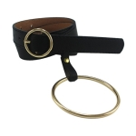 Women Waist Belt Big Ring Decorated Belts Gold Pin Buckle Solid PU Leather Strap(Gold buckle)