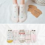 5 Pairs Women Casual Animal Ear Pattern Socks Short Cotton Cute Cat Ankle Socks(C-905)