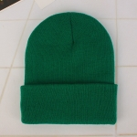 Simple Solid Color Warm Pullover Knit Cap for Men / Women(Green )