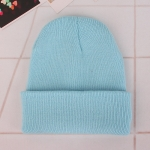 Simple Solid Color Warm Pullover Knit Cap for Men / Women(Light blue )