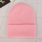 Simple Solid Color Warm Pullover Knit Cap for Men / Women(Pink )