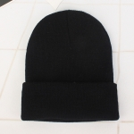 Simple Solid Color Warm Pullover Knit Cap for Men / Women(Black )