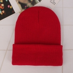 Simple Solid Color Warm Pullover Knit Cap for Men / Women(Red )