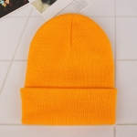 Simple Solid Color Warm Pullover Knit Cap for Men / Women(Yellow )