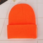 Simple Solid Color Warm Pullover Knit Cap for Men / Women(Orange )