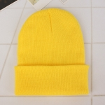 Simple Solid Color Warm Pullover Knit Cap for Men / Women(Light yellow )