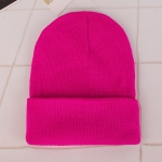 Simple Solid Color Warm Pullover Knit Cap for Men / Women(Rose )