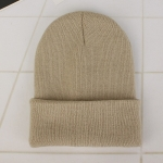 Simple Solid Color Warm Pullover Knit Cap for Men / Women(Beige )