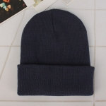 Simple Solid Color Warm Pullover Knit Cap for Men / Women(Dark grey )