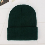 Simple Solid Color Warm Pullover Knit Cap for Men / Women(Blackish green )